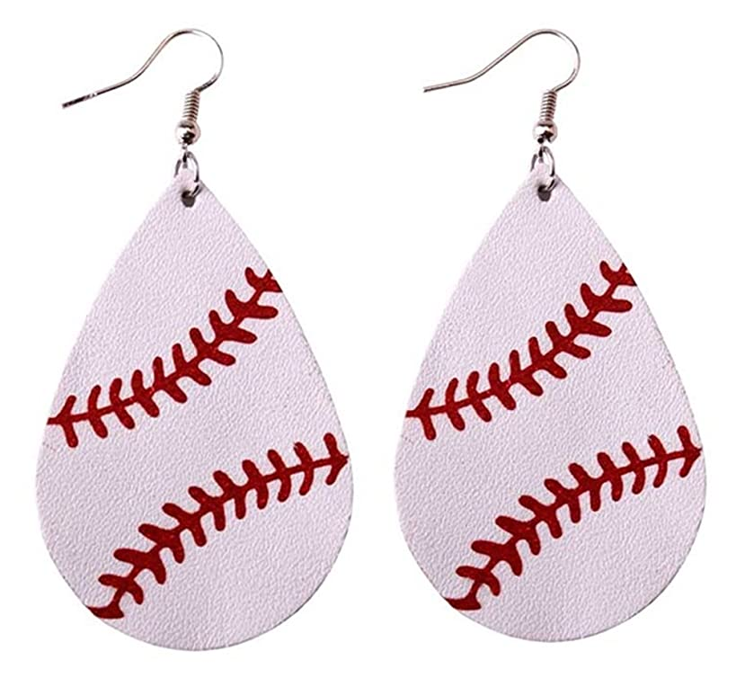 StylesILove Women Teen Girls Baseball Games Teardrop Leather Dangle Earrings