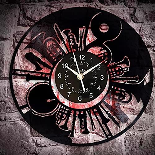 Gtllje Decoración Negra Hombres y Mujeres Regalos para el hogar Reloj de Pared de Vinilo de Tambor de Estilo Retro único Creativo 12 Pulgadas
