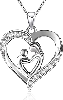 BLOVIN 925 Sterling Silver Mother and Child Love Heart Pendant Necklace Jewelry Gifts for Grandmother Mom Daughter Wife