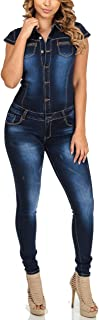 TieNew Ladies Sleeveless Skinny Fit Jumpsuit Women's Quality Jeans Jumpsuit Overalls Stretchy Sexy New Women's Washed Out ...