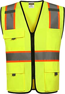 Justry High Visibility Safety Vest, ANSI/ISEA Standard | Color Neon Yellow | (XL/2XL)