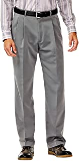Haggar Men's Two-Tone Herringbone Expandable-Waist Pleat-Front Dress Pant