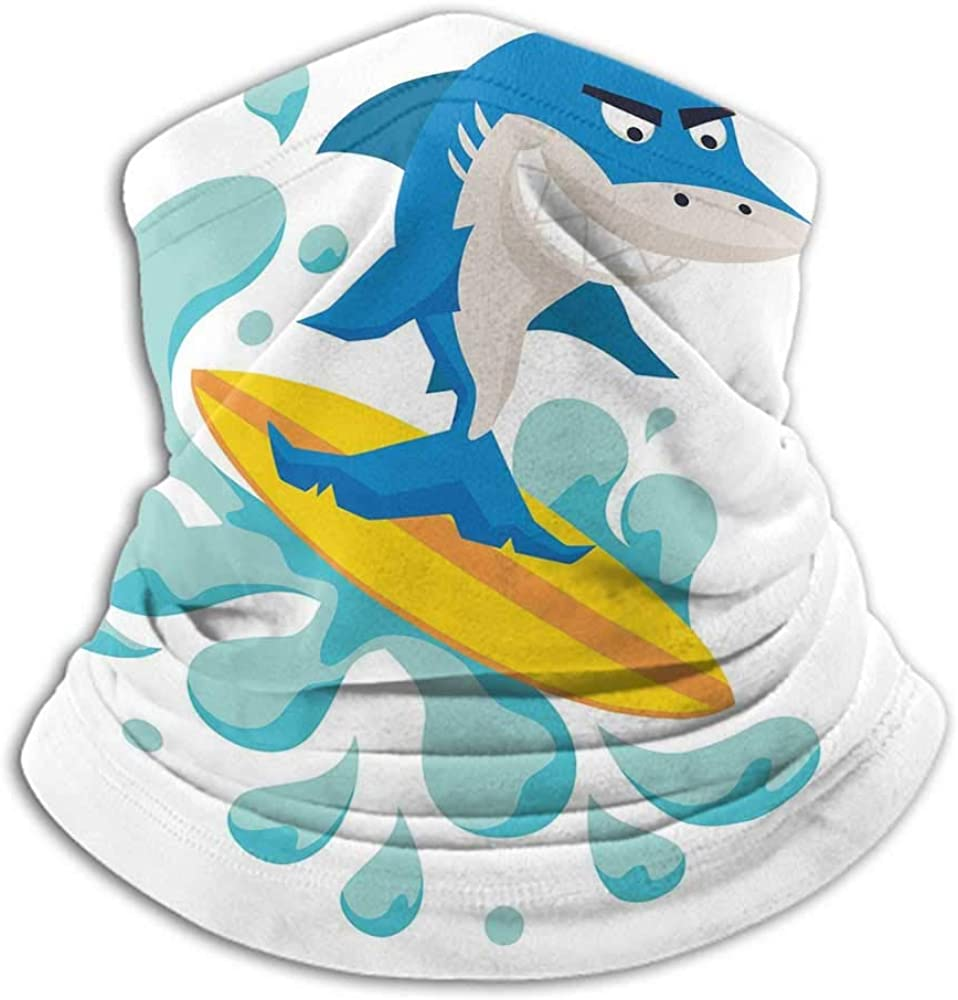 Face Cover Ride The Wave Neck Gaiter Sunblock Face Scarf Funny Shark Surfing in the Ocean Athletic Fish Graphic Art Violet Blue Turquoise Yellow