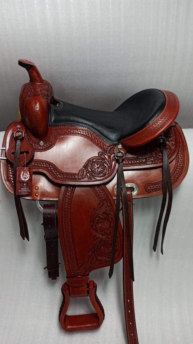 Tasmiya Leather Very popular Horse Saddle Western with Set Tack Excellence Barrel
