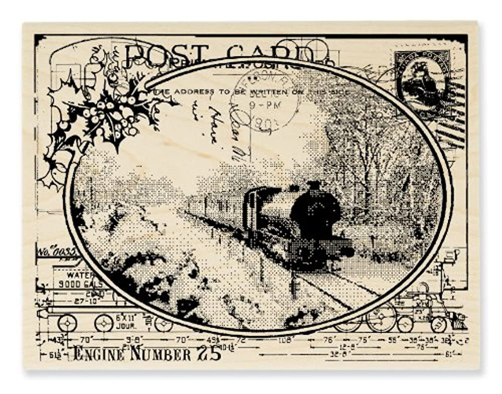 STAMPENDOUS, Wood Handle Stamp, Train Postcard