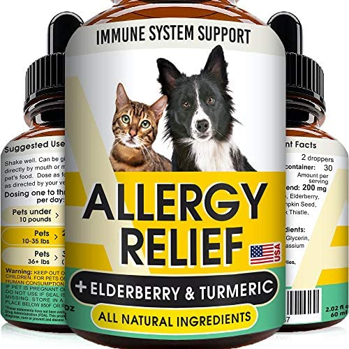 GOODGROWLIES Allergy Relief Drops for Cats and Dogs Non GMO w Elderberry Turmeric and Milk Thistle product image