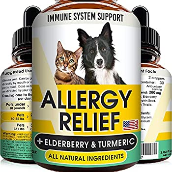 GOODGROWLIES Allergy Relief Drops for Cats and Dogs - Non-GMO - w/Elderberry Turmeric and Milk Thistle - Made in USA - Itchy Skin Relief Immune Supplement - Pets Shedding Hot Spots Remedy - 2oz