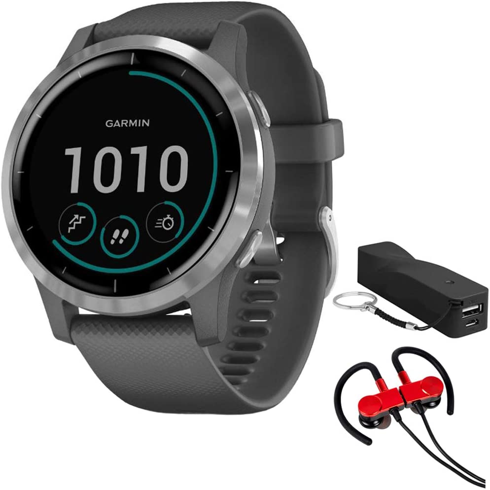 Garmin 010-02174-01 Vivoactive 4 Smartwatch, Shadow Gray/Stainless Bundle with Deco Gear Magnetic Wireless Sport Earbuds, Red with Carrying Case and Voltix 2600mAh Portable Power Bank