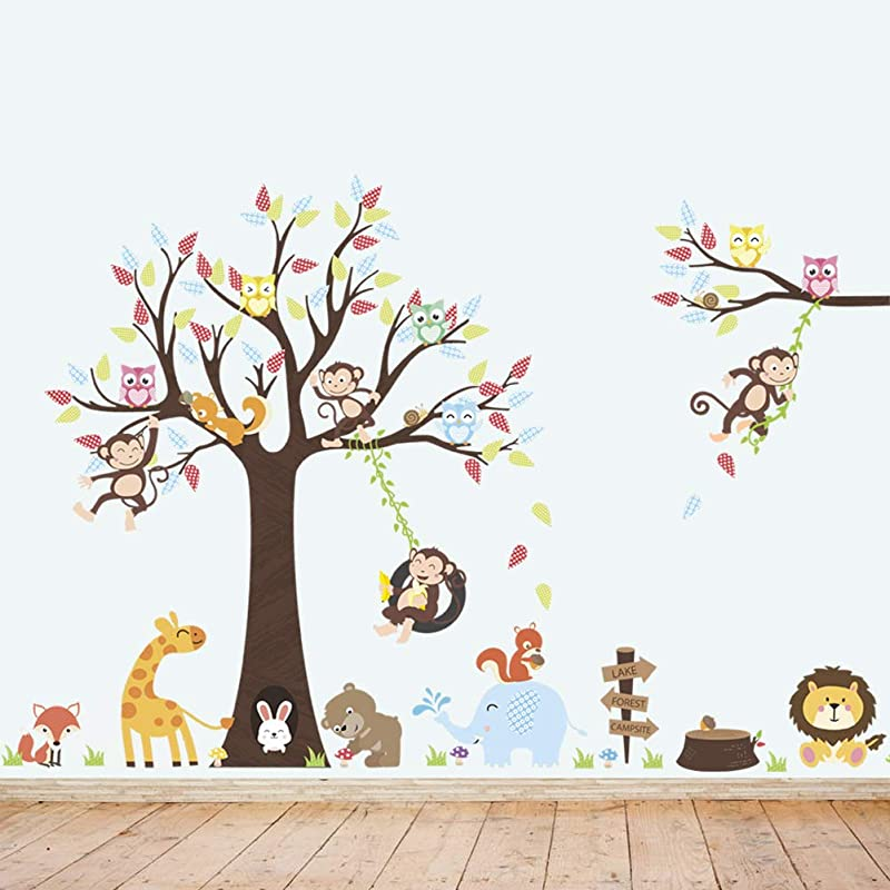Aukeoss Cartoon Big Tree Monkey Zoo Swinging Wall Stickers Removable Peel Stick Wall Decals For Children S Room Kids Living Room TV Background Bedroom Home D Cor