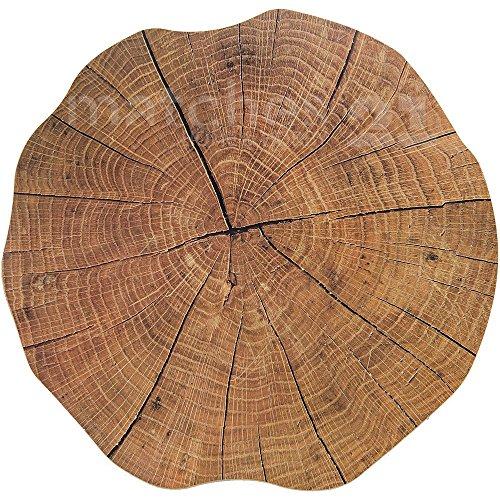 matches21 mesa individuales (Diseño de tronco de árbol Disco aspecto de madera marrón 6 unidades alrededor Ø 38 cm Plástico Espacio Matte undurchlässig borrable limpiar.