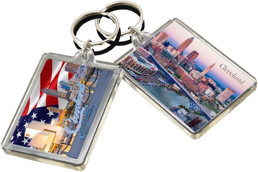KR023 Cleveland City Keychain United States Travel Photo Keyring