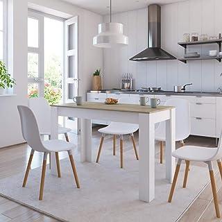 vidaXL Table de Salle à Manger Table à Dîner Table de Cuisine Table de Repas Meuble à Dîner Maison Intérieur Blanc et Chên...