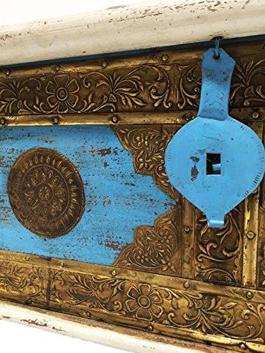 Orientalische Truhe Kiste aus Holz Murali 115cm groß in Weiß | Vintage Sitzbank mit Aufbewahrung für den Flur | Aufbewahrungsbox mit Deckel im Bad | Betttruhe als Kissenbox oder Deko im Schlafzimmer - 3