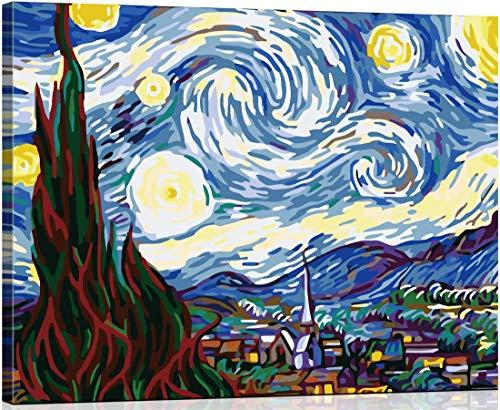 Alittle con Marco de Madera Pintar por Numeros Kit para Adultos Pintura de Bricolaje Decoraciones para el Hogar, Cielo Estrellado de Van Gogh 16 * 20 Pulgadas