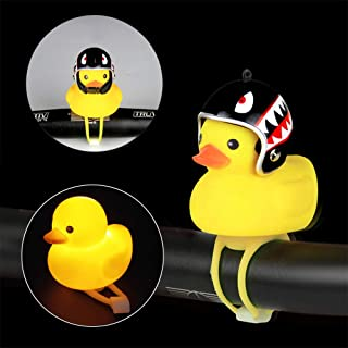 Eutreec Kids Bike Horn Cute Bicycle Lights Bell Squeeze Horns for Kids Adults Cycling Light Lovely Rubber Duck Helmet Propeller Toys