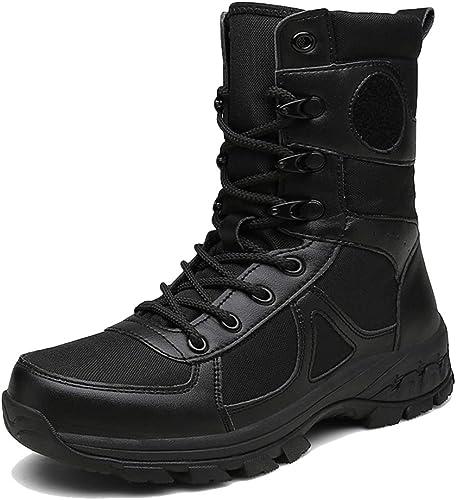 hombres negro Militar Ejército Trekking botas de Senderismo de Gran Altura con Cordones botas tácticas de Combate Hombre para Caminar Cremallera Lateral Trabaño Botín Zapaños