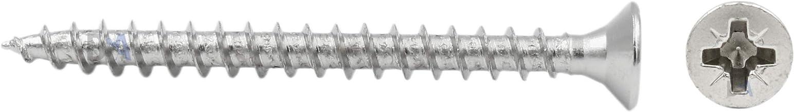 50 schroeven 4 x 45 mm alle schroefdraad IROX staal vernikkeld kop kruis Pozidriv PZD verzonken schroef voor hout en spaan...
