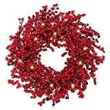 VGIA 22 inches Christmas Wreath Door Wreath Stunning Red Berry Wreath  Battery Operated Christmas Decoration