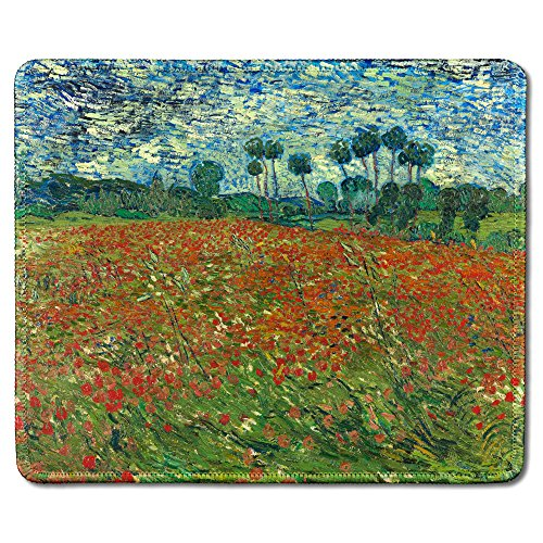 dealzEpic - Art Mousepad - Natural Rubber Mouse Pad with Famous Fine Art Painting of Poppy Field by Vincent Van Gogh - Stitched Edges - 9.5x7.9 inches