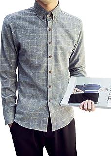 [スカイシイ] 7カラー チェックシャツ シンプル お洒落 韓国風 おしゃれボタン 長袖 メンズ S~3XL