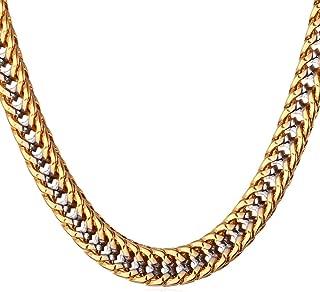 Men Women 4mm-9mm Wide Franco Curb Chain Platinum/Black/18K Gold/Rose Gold Plated Necklace, Length 18-32 Inch