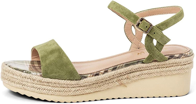 High Heel Frauen Leder Keil Sandalen Urlaub Wasserdichte High Heels Frauen Keile Schuhe Für Frauen Zinn Sandalen Für Frauen (Farbe   Grün, Größe   36 US5.5)