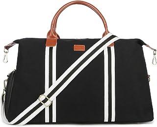 Baosha Unisex Canvas Reisetasche Damen Herren Handgepäck Sporttasche Travel Duffel Bag Weekender Tasche Schwarz