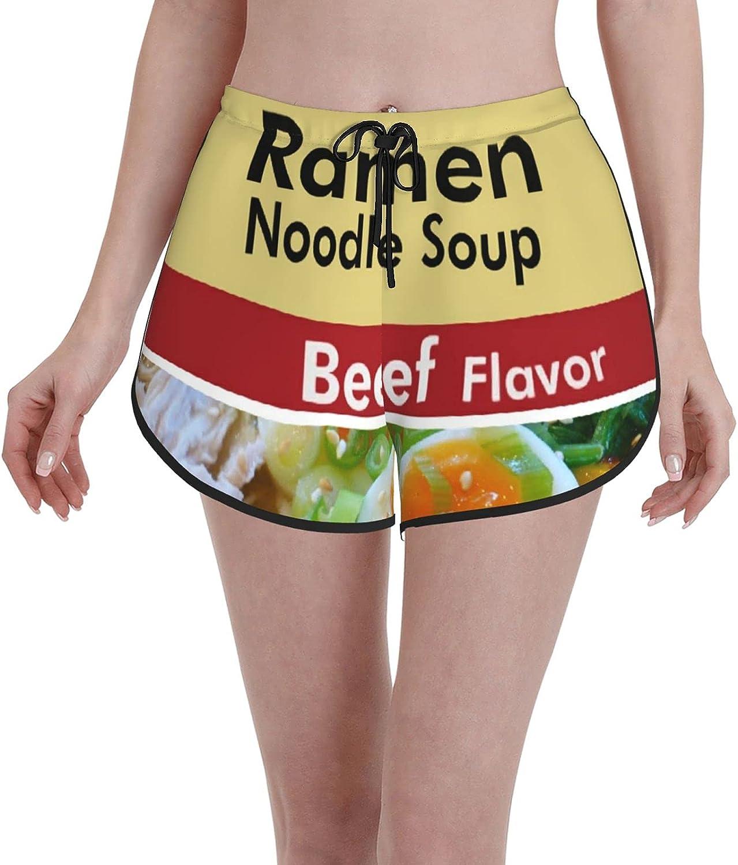 Janrely Comfortable Casual Board Shorts for Women Girls,Ramen Noodle Soup Beef Flavor Mouth Chic,Quick Dry Swim Trunks Beach Wear Sportswear,M
