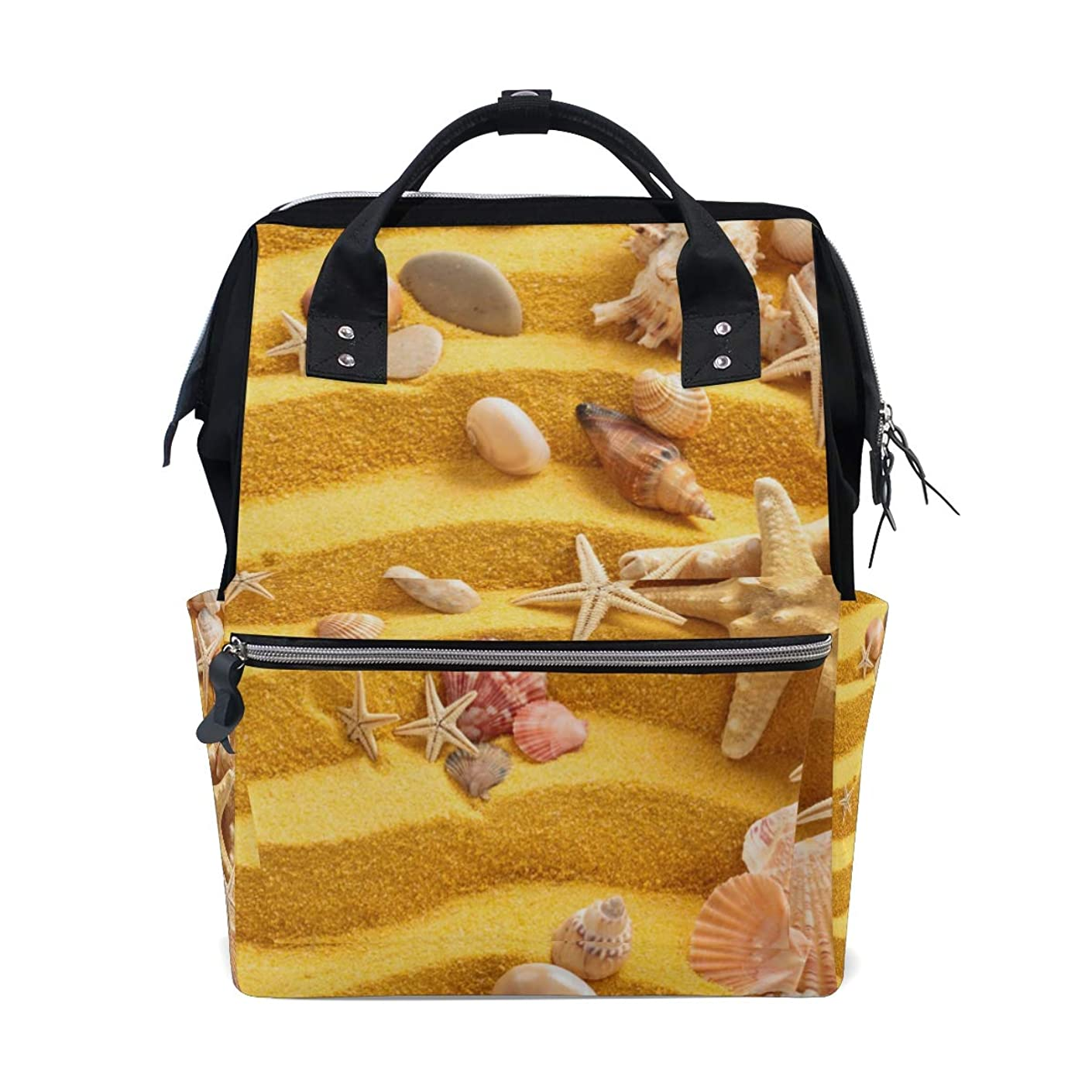 Yellow Sand Shells Starfishes School Backpack Large Capacity Mummy Bags Laptop Handbag Casual Travel Rucksack Satchel For Women Men Adult Teen Children