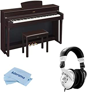 Yamaha Arius YDP-184 88-Key Traditional Console Digital Piano with Bench & PA-300C AC Power Adapter, Dark Rosewood - With H&A Closed-Back Studio Monitor Headphones