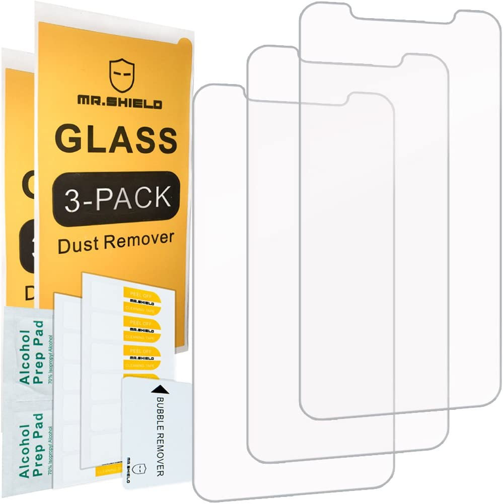 [3-PACK]- Mr.Shield Designed For iPhone X/iPhone XS/iPhone 10 [Tempered Glass] Screen Protector [0.3mm Ultra Thin 9H Hardness 2.5D Round Edge] with Lifetime Replacement