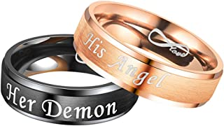 2 Pcs Her Demon His Angel Couple Ring for Lovers Promise Wedding Engagement Gifts