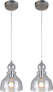 Westinghouse CD-0197 Industrial One-Light Adjustable Mini Pendant with Handblown Clear Seeded Glass, Brushed Nickel Finish-2 Pack, Shade