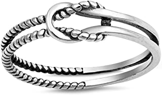 Oxidized Infinity Love Knot Rope Loop Ring .925 Sterling Silver Band Sizes 3-12