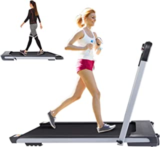 Lightweight Portable Treadmill Small Space for Running Walking, 2 in 1 Folding Under Desk Jogging Machine with Remote Control and LED Display
