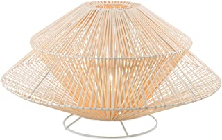 Boho Traders Two Tier Iron and Rattan Table Lamp, Natural