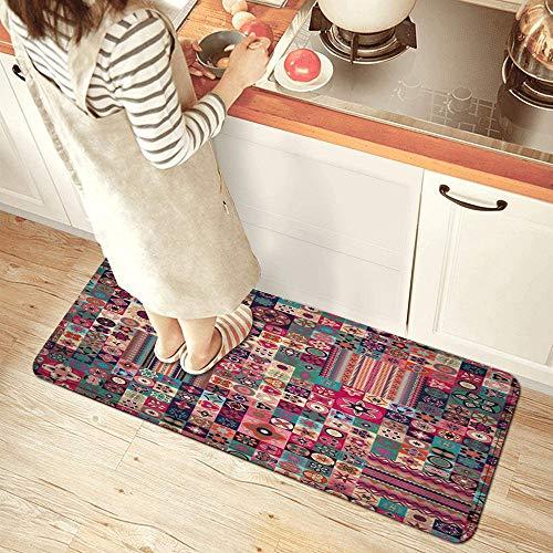 DYCBNESS alfombras de Cocina Antideslizantes Lavables,Mosaico marroquí Patrón geométrico Floral Azulejos marroquíes Árabe Tradicional Tunecino Original,felpudos para Interiores y Exteriores 45x120cm