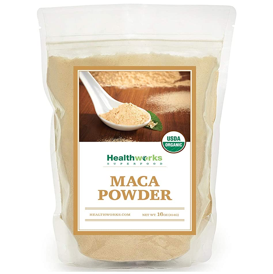 Healthworks Maca Powder Raw (16 Oz / 1lb) | Certified Organic | Flour Use | Keto, Vegan & Non-GMO | Premium Peruvian Origin | Breakfast, Smoothies, Baking & Coffee | Antioxidant Superfood