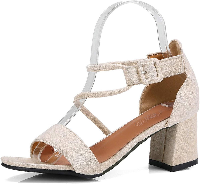 Women Sandals Pink Women shoes Platform Buckle All Match Square High Heel Sandals 34-43
