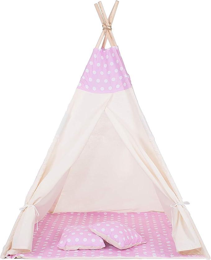 160 opinioni per SPRINGOS Tenda per Bambini Teepee Tipi Wigwam in Cotone con Tappetino 160 * 120