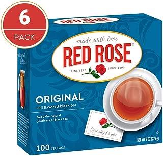 Red Rose Teas Black Tea, 6 Boxes of 100 (600 Tea Bags), Original Black