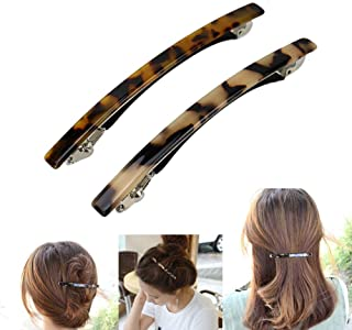 Luckycivia 2 Pack Hair Barrette, Long and Thin Handmade Celluloid Onyx Hair Clip, Elegant Automatic Hair Clip, Barrette Ponytail Holders for Women/Girls - 4 Inches