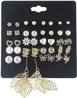 Hoveey Lot de 20 paires de boucles d'oreilles à tige en forme de chouette avec éléphant plaqué argent
