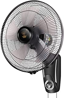 QFFL Ventilador de Pared, Ajuste de 3 Velocidades, Oscilación de 90 Grados, Inclinación Vertical, Operación de Línea de Tracción, Motor Silencioso, Rejilla de Seguridad, Montaje en Pared