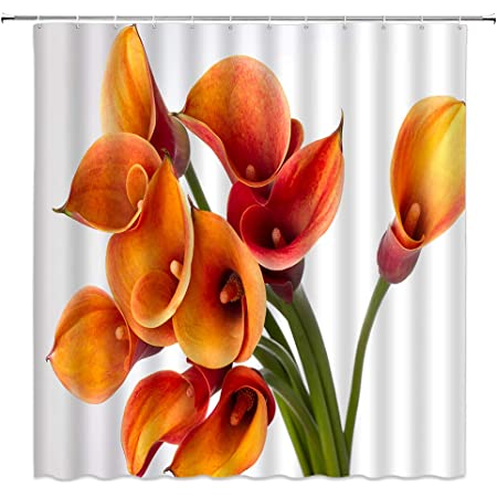 BCNEW Calla Lily Shower Curtain Decor Orange Flower Spring Creative Floral Plant Country Garden Decorative Polyester Fabric Machine Washable with Hooks 70x70 Inches