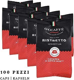 O'ccaffe Cápsulas Ristretto compatibles con Lavazza a Modo Mio | Expreso dulce-ácido de una empresa italiana | 100 unidades