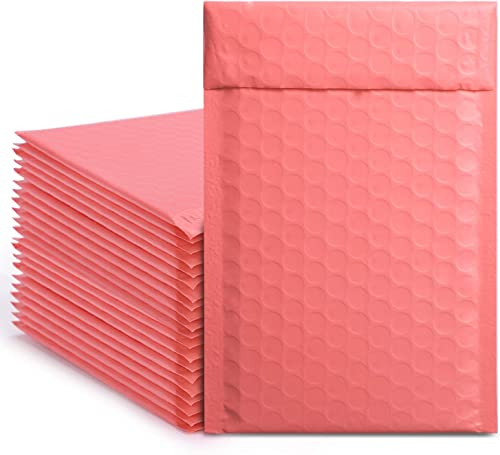 Metronic 50Pcs Poly Bubble Mailers, 4X8 Inch Padded Envelopes Bulk #000, Bubble Lined Wrap Polymailer Bags for Shippi...