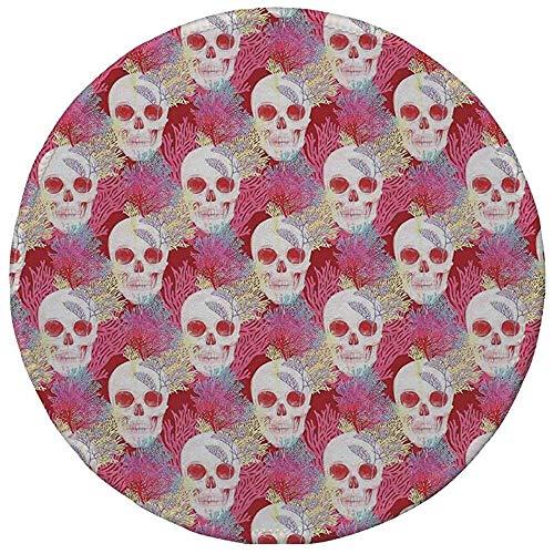 Rubber ronde muismat, koraal decor, dubbele belichaamde grafische Mexicaanse schedel botten en exotische griezelige dode icoon met planten, Multi