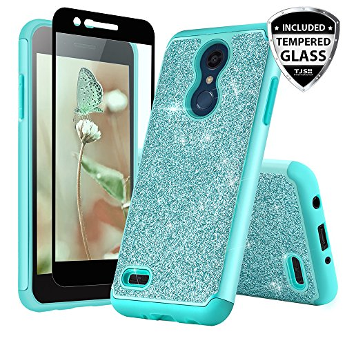 TJS Phone Case for LG K10 2018/K30/Premier Pro LTE/Harmony 2/Phoenix Plus/Xpression Plus, with [Tempered Glass Screen Protector] Glitter Bling Girls Women Design Dual Layer Heavy Duty Hybrid (Teal)