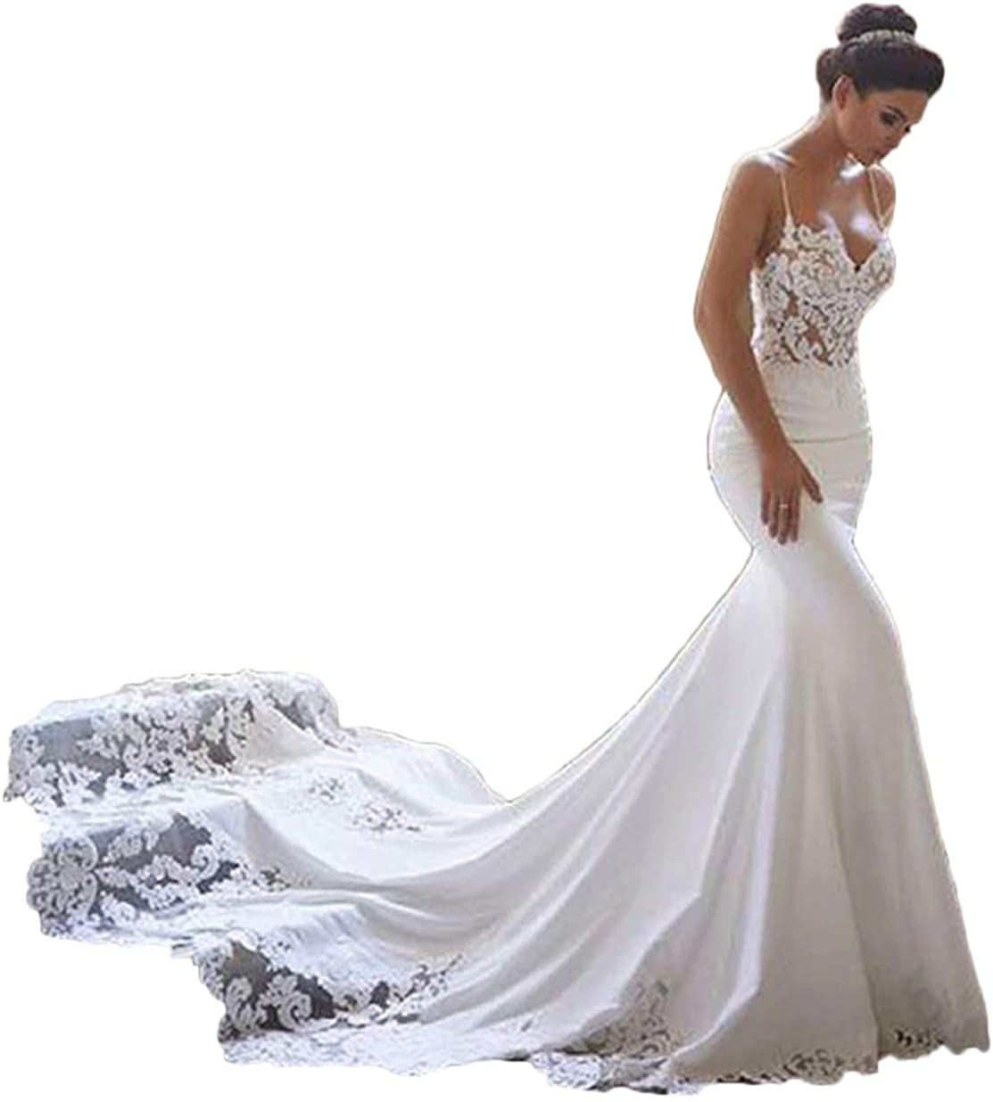 RYANTH Women's Mermaid Wedding Dresses New item Sexy Bride Lace Special price for a limited time Open